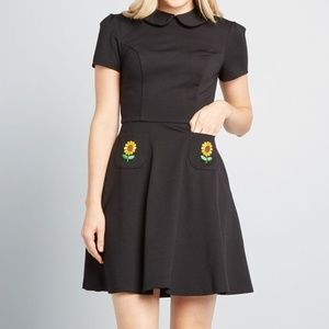 Modcloth Embroidered Sunflower Black Dress